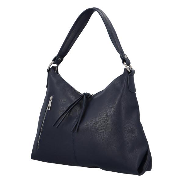 Kožená prostorná kabelka Paul, modrá