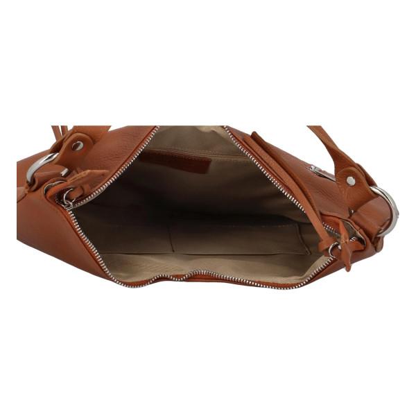 Kožená prostorná kabelka Paul, hnědá