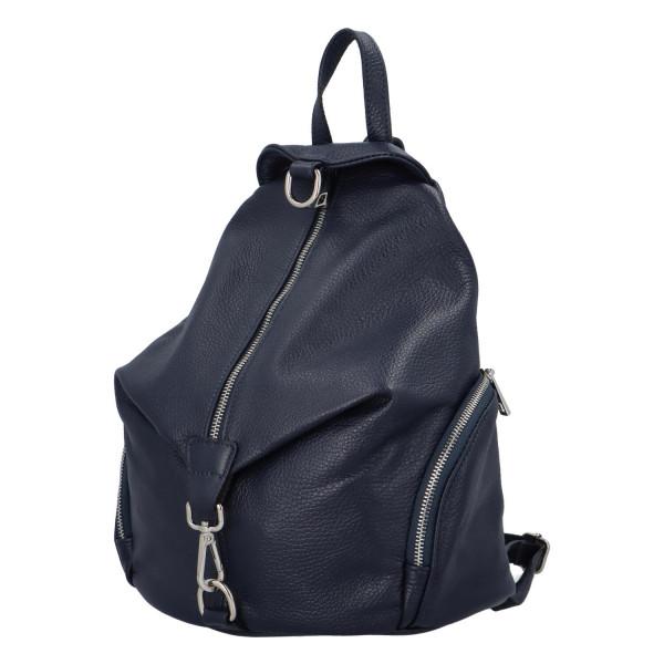 Stylový kožený dámský batoh Sonia, modrá
