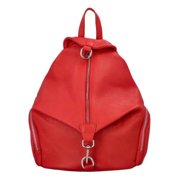 Stylový kožený dámský batoh Sonia, červená