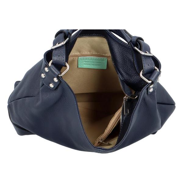 Praktická elegantní kožená kabelka Tatiana, modrá