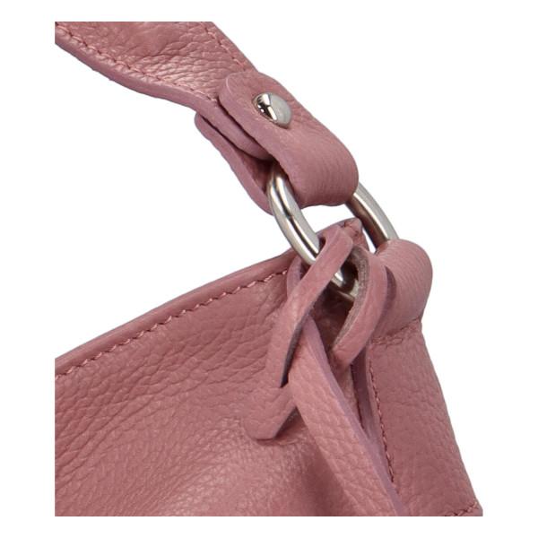 Krásná dámská kožená kabelka Lydie, růžová