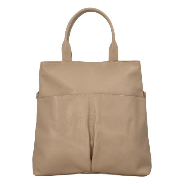 Stylová kožená kabelka Kacie do ruky, taupe