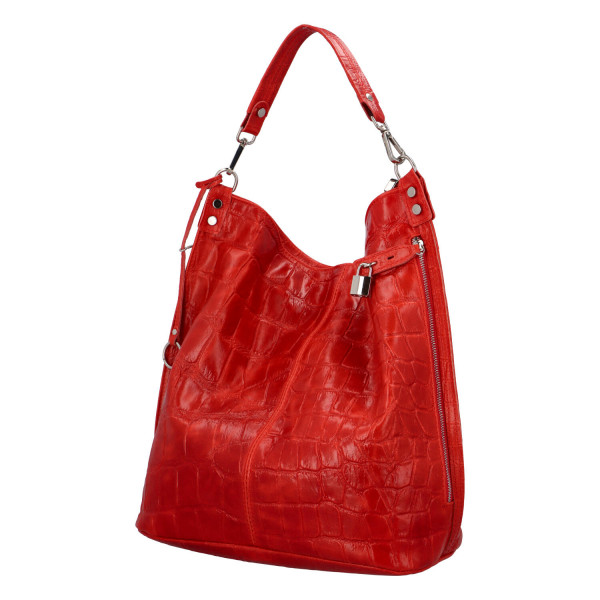 Extravagantní kabelka z kůže Noemi, červená