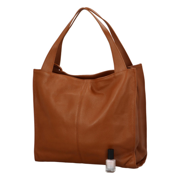 Stylová kožená kabelka Oksana do ruky, cuoio