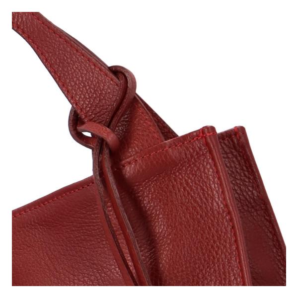 Stylová kožená kabelka Oksana do ruky, červená