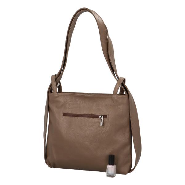 Krásná kožená kabelka Nora přes rameno, taupe