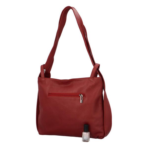 Krásná kožená kabelka Nora přes rameno, červená