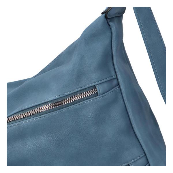 Stylová koženková crossbody kabelka Ingrid, světle modrá