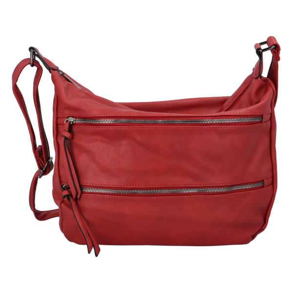 Stylová koženková crossbody kabelka Ingrid, červená