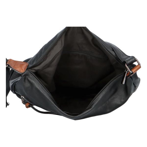 Stylová koženková crossbody kabelka Ingrid, černo-hnědá