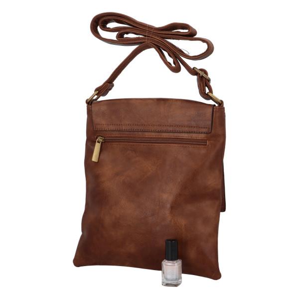 Elegantní koženková crossbody kabelka Livia, tmavě hnědá