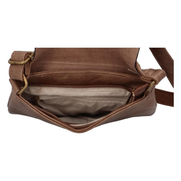 Elegantní koženková crossbody kabelka Livia, zemitá