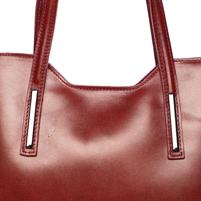 Elegantní kožená dámská kabelka Caitlin, červená