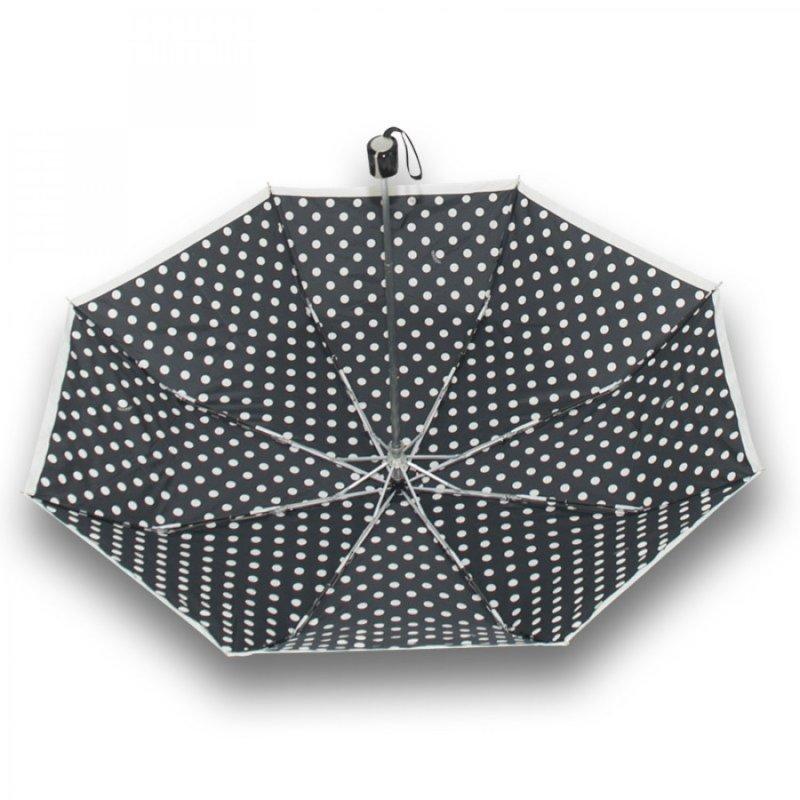 Mini Fiber Black a White - dámský skládací deštník puntíky