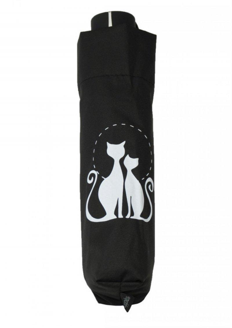 Mini Fiber Dreaming Cats - dámský skládací deštník, černý s kočkou