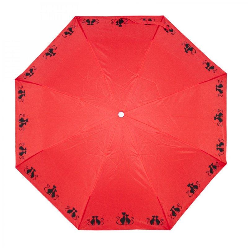 Mini Fiber Dreaming Cats - dámský skládací deštník, červený
