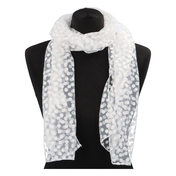 Elegantní letní šátek Lia kolem krku, bílá