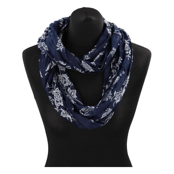 Krásný lehký šátek Flora, tmavě modrý