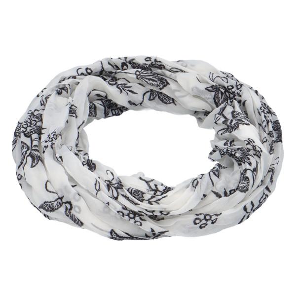 Krásný lehký šátek Flora, černo-bílý