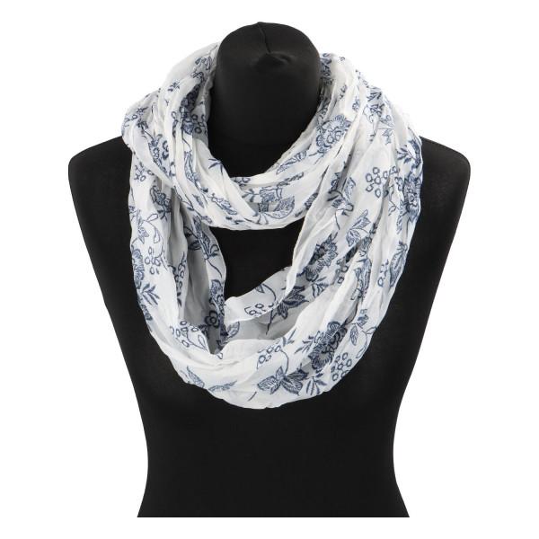 Krásný lehký šátek Flora, modro-bílý