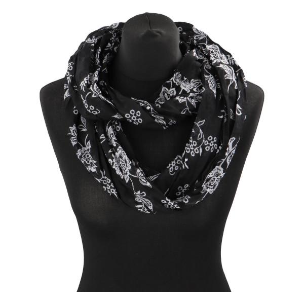 Krásný lehký šátek Flora, černý