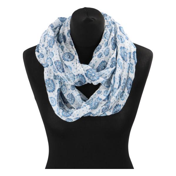 Módní lehký šátek Pam, bílo-modrý