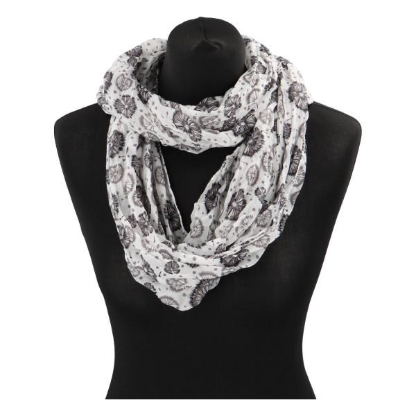 Módní lehký šátek Pam, černo-bílý