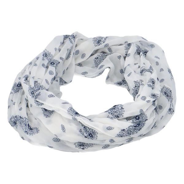 Lehký dámský šátek Planty, modro-bílý