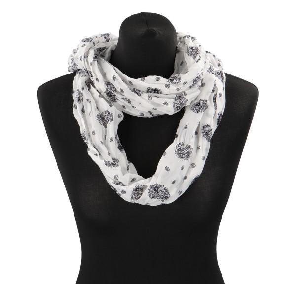 Lehký dámský šátek Planty, černo-bílý