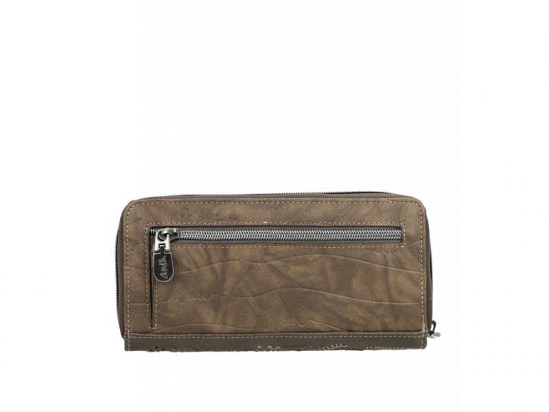 Dámská koženková peněženka Anekke Rune na zip, hnědá