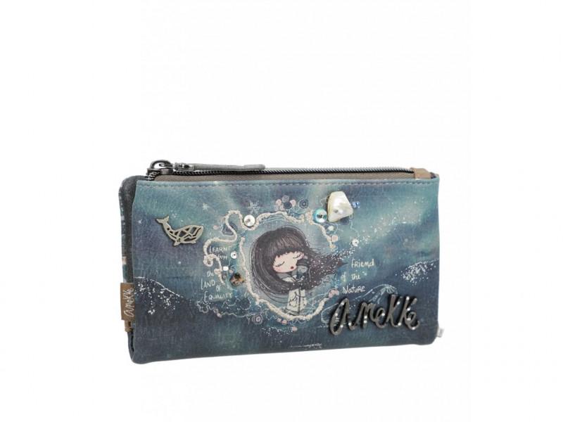 Dámská koženková peněženka Anekke Iceland střední měkká, modrá