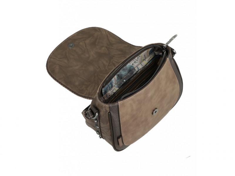 Dámská koženková crossbody kabelka s klopou Anekke Rune Shine, hnědá