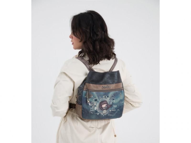 Dámský koženkový kabelko batoh Anekke Iceland, modrý