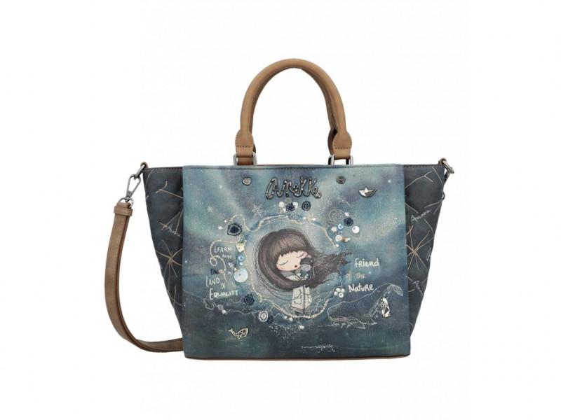 Dámská koženková kabelka do ruky Anekke Iceland Star, modrá