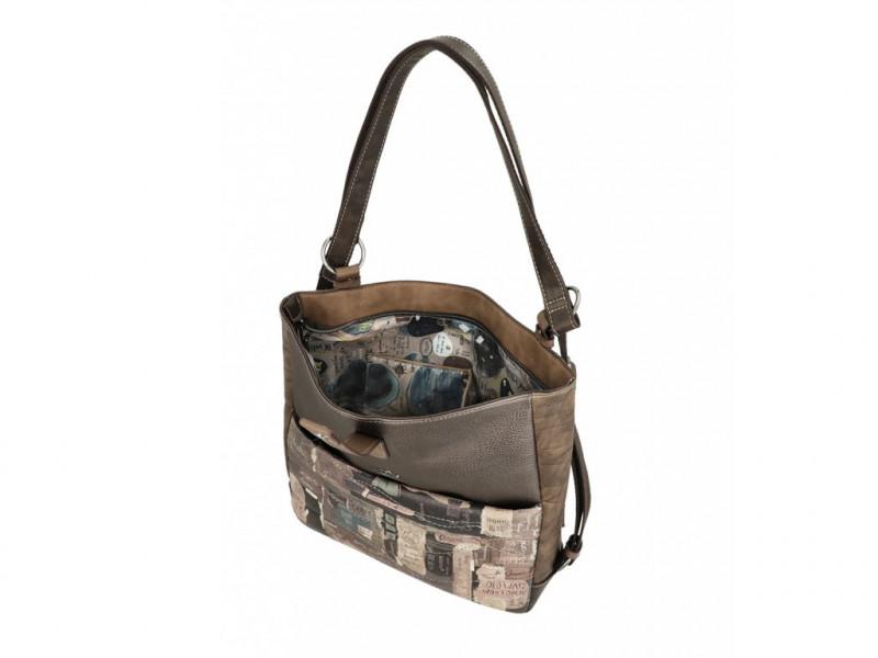 Dámský koženkový kabelko batoh 2 v 1 Anekke Rune, hnědý