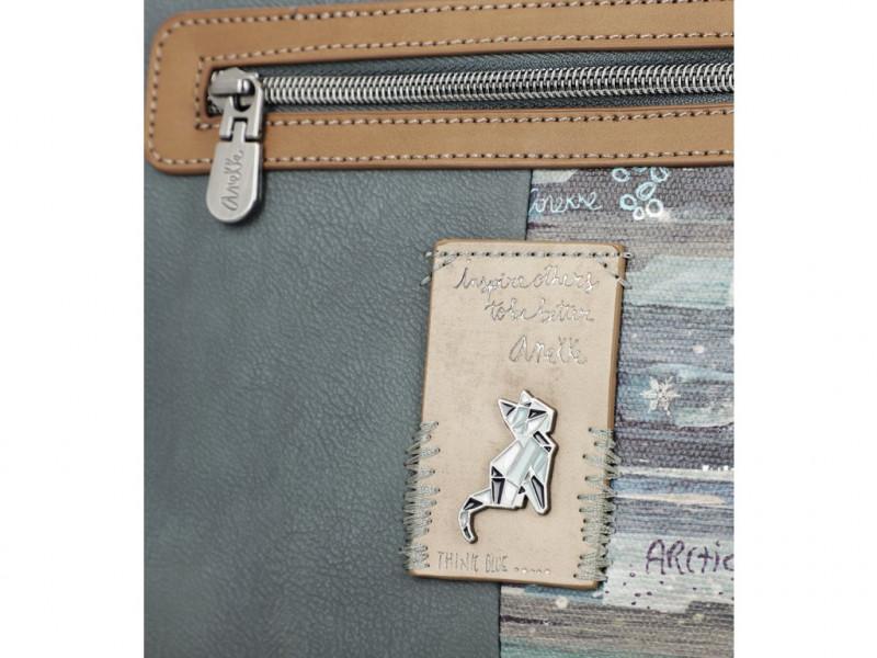 Dámská koženková crossbody kabelka s kapsou Anekke Sweet Iceland, modrá