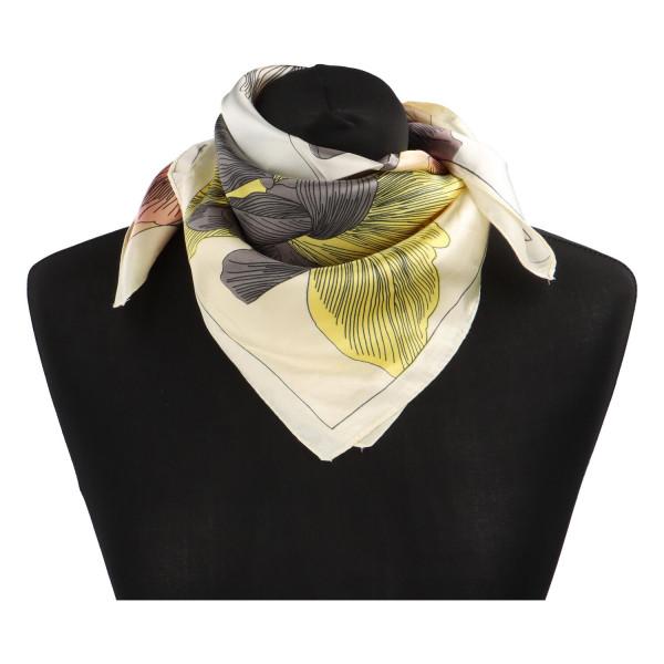 Stylový hedvábný dámský šátek Matilda, žlutá