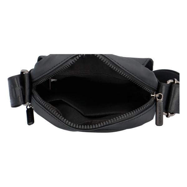 Pánská textilní crossbody s klopou Miky, černá