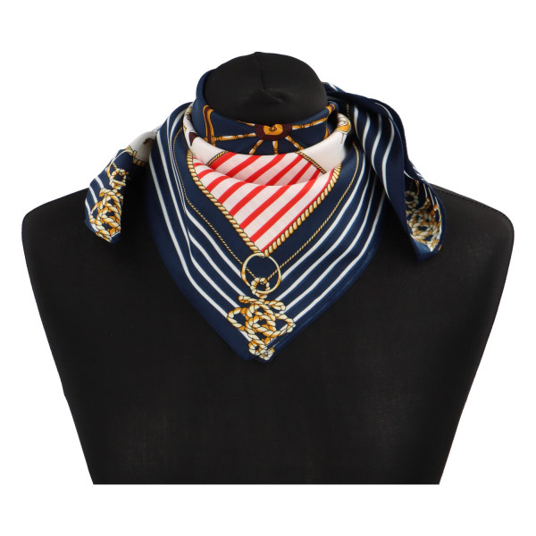 Elegantní hedvábný šátek Nadia se vzorem, námořnický
