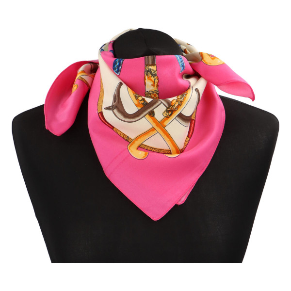 Elegantní hedvábný šátek Nadia se vzorem, růžová