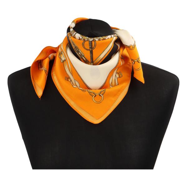 Elegantní hedvábný šátek Nadia se vzorem, oranžová