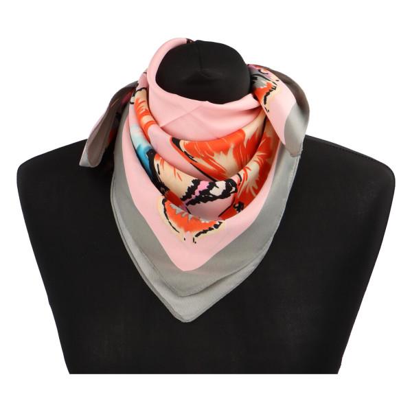 Elegantní hedvábný šátek Nadia se vzorem, šedo-růžová