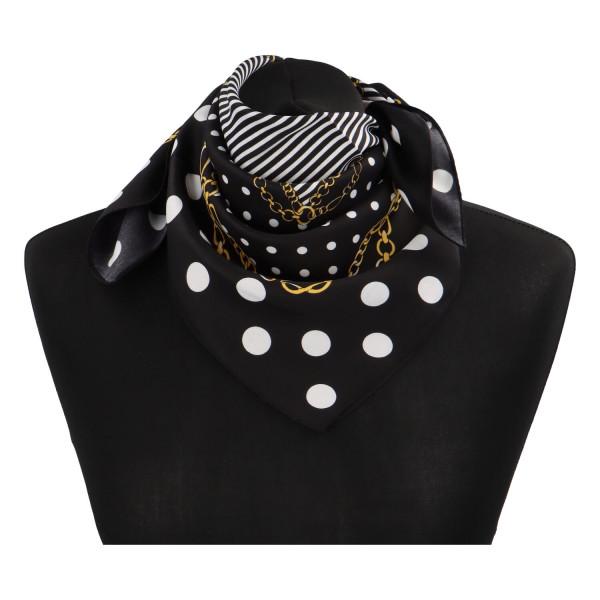 Elegantní hedvábný šátek Nadia se vzorem, černá