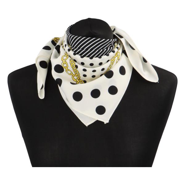 Elegantní hedvábný šátek Nadia se vzorem, bílá