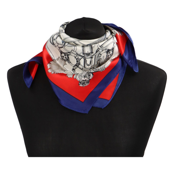 Elegantní hedvábný šátek Nadia se vzorem, červeno-modrá