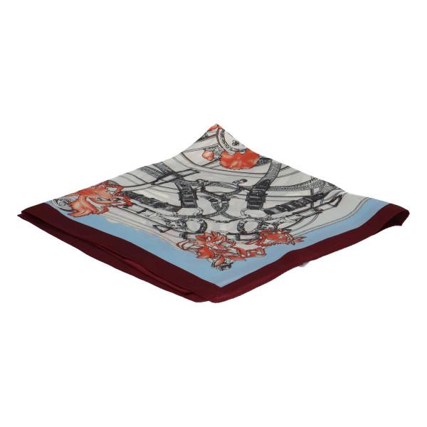 Stylový hedvábný dámský šátek Matilda, bordo-modrá