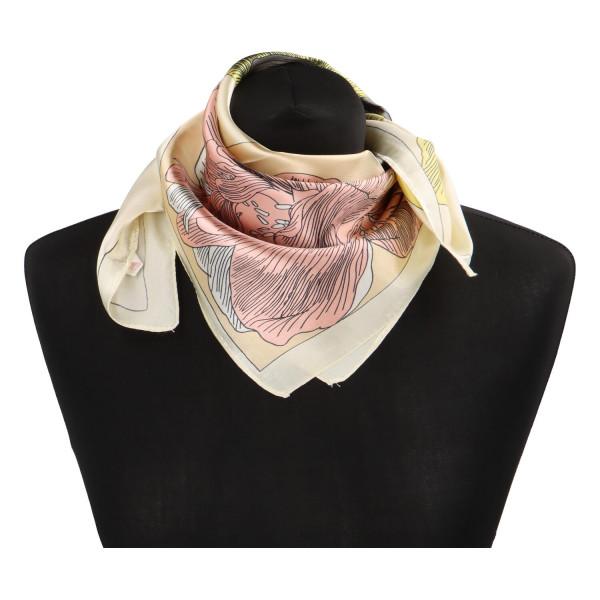 Stylový hedvábný dámský šátek Matilda, světle žlutá