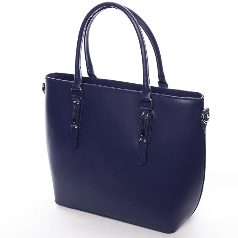 Elegantní kožená kabelka Angela, jeanově modrá