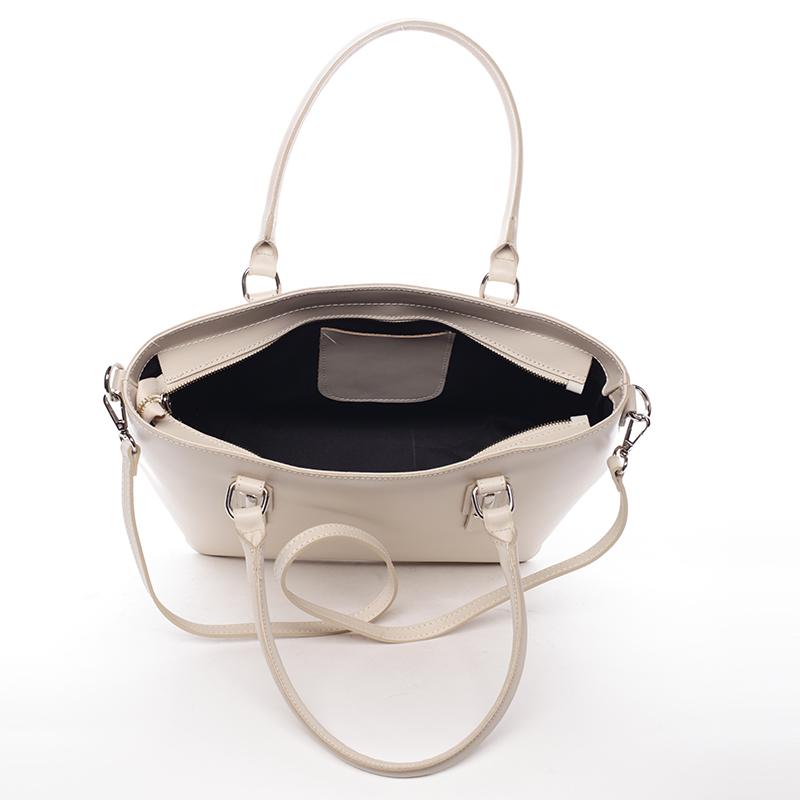 Elegantní kožená kabelka Angela, béžová